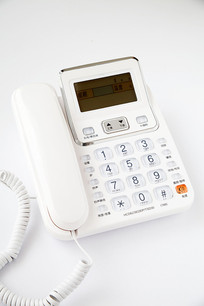 带有液晶显示的白色电话机