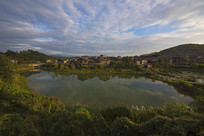 青岩古镇河塘风景