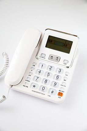 一台带有液晶显示的白色电话机