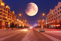 内蒙古边境城市雪夜圆月