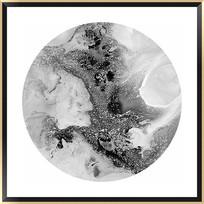 黑白抽象画水墨壁画写意山水