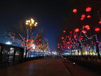 春节街道夜色