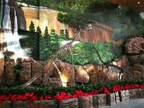 恐龙骨架造景