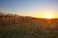 日出红太阳照耀草原栅栏