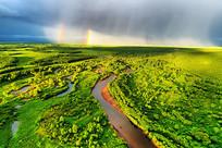河湾彩虹景观 (航拍)