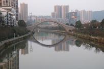 湖南郴州爱莲湖石拱桥高清摄影