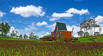 蓝天下的欧洲小木屋
