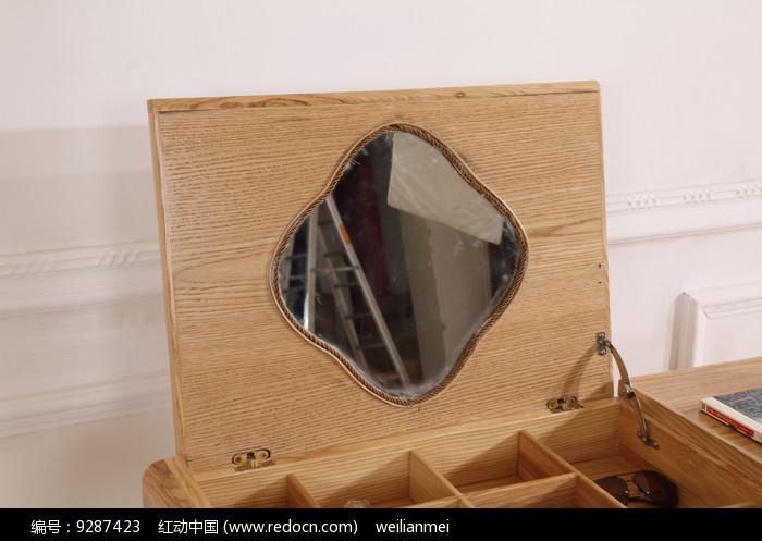 原木梳妆台梳妆镜图片