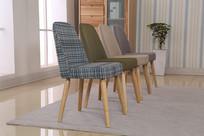 美丽的中性色布艺椅子斜面