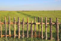 木栅栏后面的草原风光