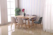 美丽的吃饭桌和绿植