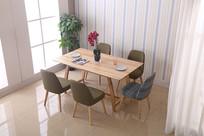 美丽的吃饭桌和椅子
