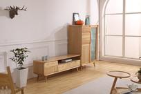 美丽的电视柜和原木书柜