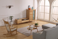 美丽的原木家具客厅
