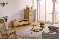 美丽的原木摇椅客厅