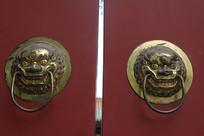 铜雕狮子门扣
