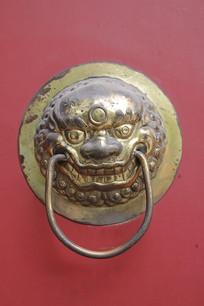 铜雕狮子头门扣