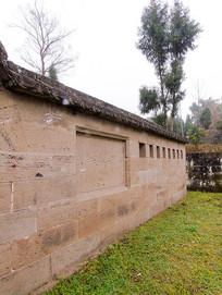 汉碑古建筑历史遗迹石头围墙