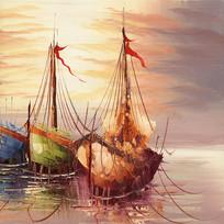 帆船油画帆船装饰画