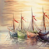 帆船油画风景画