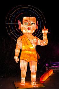 佛祖释迦牟尼灯展造型夜景