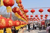 挂着红灯笼的春节庙会