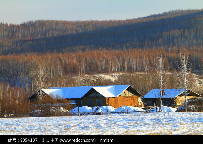 林海雪原乡村农家图片