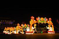 玉佛寺大象与门造型灯展夜景