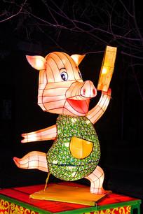 十二生肖亥猪灯展造形侧面夜景