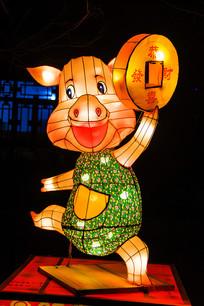 十二生肖亥猪灯展造形正面夜景