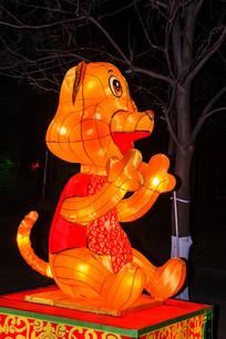 十二生肖戌狗灯展造形侧面夜景