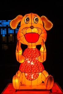 十二生肖戌狗灯展造形正面夜景