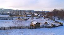 冬季山里人家的院落
