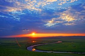 额尔古纳河落日
