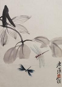 齐白石国画花鸟鱼虫之花草蜻蜓
