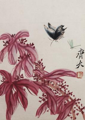 齐白石国画花鸟鱼虫之花与蝴蝶