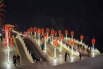 鞍山玉佛寺复拱式三孔桥夜景