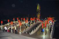 鞍山玉佛寺三孔桥与摩天轮夜景