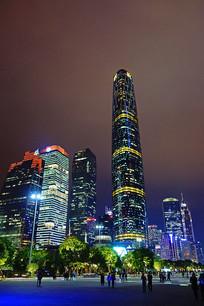广州珠江新城摩天大楼灯光婆娑