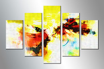 极简风格五联组合艺术画