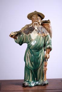 民国石湾窑渔翁摆件
