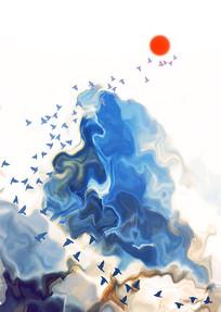 意境山水飞鸟水墨画