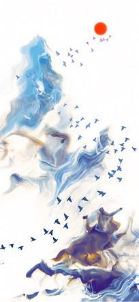 中国风意境山水飞鸟水墨画