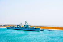 海上重庆号巡洋舰俯视图