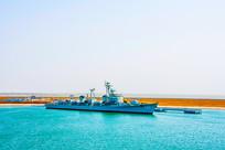 海上重庆舰俯瞰图