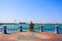 苏联海军水手雕像广场大海