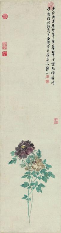 明   陆治 牡丹图