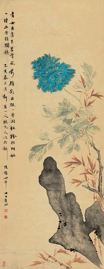 清 华喦 牡丹竹石图