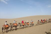 沙漠中的骆驼队