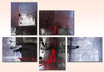 五联抽象画无框画